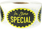 In Store Special Grocery Market Food Stickers, 1.25 x 2 Inches, 500 Labels Total