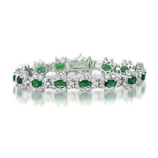 Rozzato .925 Silver Emerald with Clear Cubic Zirconia Halo Tennis Bracelet