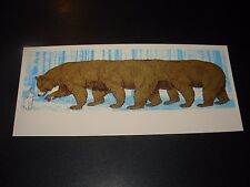 "NATE DUVAL Handbill Silkscreen Print LONG BEAR 4 X 9"" like poster art"