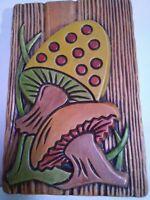 Vintage 1973 Ceramic Mushroom Picture Decorative Wall Plaque