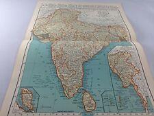 Vintage 1934 Rand McNally Map of India/Burma/Malay States ~ Color~ Ships FREE!