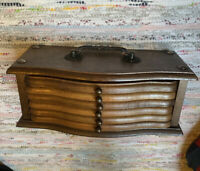 Vtg Mid Century Rustic Caddy + Coaster Appetizer Trays~Walnut Wood~Taiwan~Gift
