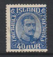 Iceland - 1921, 40a Blue King Christian X stamp - G/U - SG 136 (c)