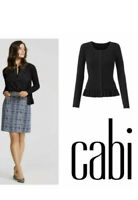 New! Large CAbi #5287 Party Cardi Black Stretchy Ribbed Ruffle Cardigan Sweater