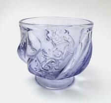 VINTAGE FENTON GLASS PURPLE VIOLET PAISLEY SWIRL FOOTED BOWL SIGNED