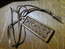TYN LLAN Welsh Vintage Studio Pottery Celtic Design Pendant on leather cord neck