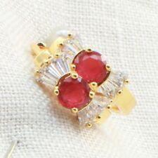 18k Gold Filled  Huggie Hoop Earrings with Ruby Cubic Zirconia-311018