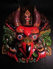 M414 Hand Carved wooden Mask Hindu Chhepu Garuda Bird Statue Wall hanging Nepal