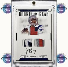 JACOBY BRISSETT 1/5 2016 NATIONAL TREASURES ROOKIE GEAR RC AUTO TRIPLE PATCH