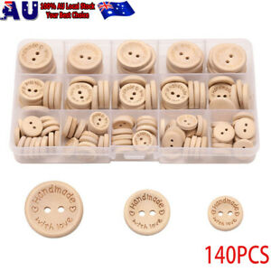140PCS Natural Color Wooden Buttons Handmade Love Letter Wood Button Craft DIY