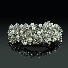 Metal hair barrette clip perle blanche strass perles argent platd pince à cheveux