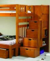 Michael Honey Twin over Full Youth Bunk Bed with Shelves