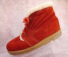 Vtg 70s Suede Leather Shearling Lined Festival Boho Retro Chukka Ankle Boots 8.5