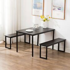 Black Kitchen Dining Table and Chairs Set Breakfast Nook Furniture W/ 2 Benches