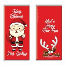5 X Cute Santa Christmas 40g Personalised Chocolate Bar Party Favor