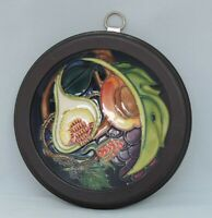 Moorcroft Queen's Choice  780/4 design Dish in wooden frame - dated 2000 - 12cm