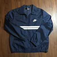 Vintage 80s 90s Blue Tag Nike Striped Windbreaker Track Jacket Sz Medium 1/4 Zip