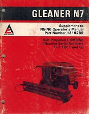 Heavy equipment manuals books for gleaner combine ebay allis chalmers n7 supplement gleaner combine operators manual publicscrutiny Images
