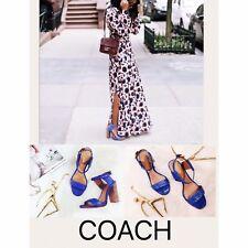 COACH Lexey Sandals Heels Cobalt Blue Snake Embossed Leather Square Heel Sz 8