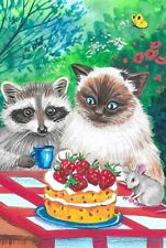 4X6 Easter Postcard Ryta Raccoon Ragdoll Cat Landscape Art Strawberry Spring