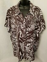 Coldwater Creek Womens Brown White Leaf Button Down Shirt Top Blouse Size 3X