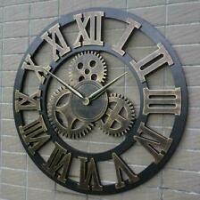 Orologio da parete in legno vintage  con ingranaggi in metallo con numeri romani