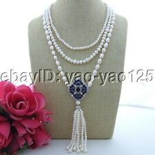 "S101609 18"" 3 Strands White Pearl Necklace CZ Pendant"