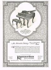 1920s BIG Original Vintage Kranich Bach Queen Anne Piano Art Deco Print Ad