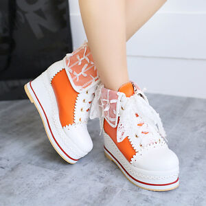 Plus Size Girls Ladies Platform Shoes Lace Round Toe Sneakers Wedge Trainers NEW