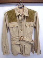 EUC! Ralph Lauren Sport Bush Jacket leather shoulders khaki belt women's sz M