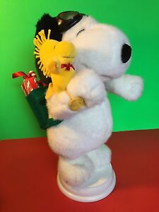 """Santa's Best Peanuts Christmas Snoopy Flying Ace  '97 Animated w/ Woodstock 16"""""""