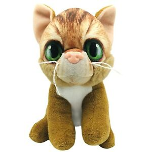 "Dan Dee Kitty Cat 7"" Plush Anthropomorphic Faced Cat Animal Toy Big Green Eyes"