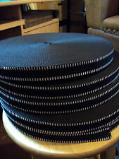 50m. Cinghia in polipropilene Tessitura/Nero + due linee Bianco - 25mm