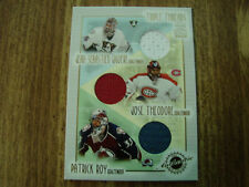 2001-02 Crown Royale Triple Threads # 4 Jersey Card Patrick Roy & Jose Theodore