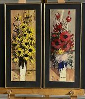 Pair Of Beautiful Original Vintage Still Life Flower Oil Paintings By M Tellier