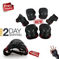 BMX Bike Knee Pads and Elbow Pads with Wrist Guards Protective Gear For Kids Red