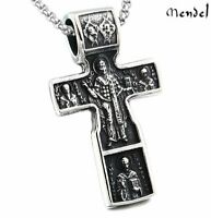 St Benedict Cross Stainless Steel Necklace Catholic Saint Jesus Crucifix Pendant