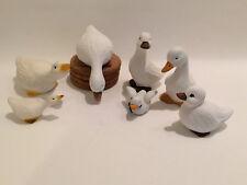 7 Gänse Enten Gans Deko Figuren Keramik Ton 3-9 cm Dekoration Weihnachten Ostern
