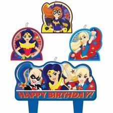 DC Super Hero Girls Cake Candle Set 6 Pack Childrens Birthday Party Tableware