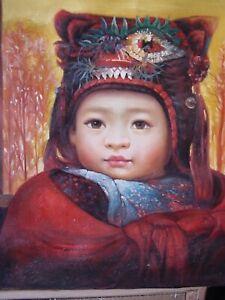 CHINESE TIBETAN GIRL CHILD DRESSED W/ MASK, ART PAINTING, BY ZHOUKAI