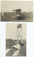 2 Inbody RPPC - START & CRASH of BIPLANE INDIANA at ELKHART IN ca1908 RARE Pair
