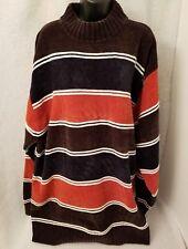 212 NYC Mens Brown Blue Orange White Striped Sweater Shirt Size 4XL