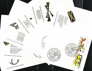 Germany 1985 set of 6 FDC covers Mi 1255-1256 Sc B635-B636 pair MOPHILA gold XXF