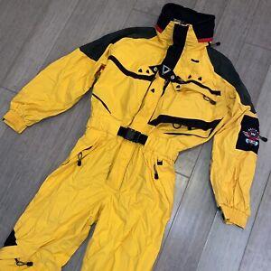 HELLY HANSEN One Piece Ski Suit Snow Bib WATERPROOF Snowsuit Yellow MENS LARGE