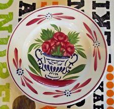 Ancienne Assiette à dessert Sarreguemine peint à la main Vase bouquet pivoine