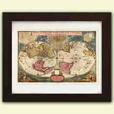 Vintage Antique reproduction World Map No2 - art print A3 on satin 285gsm poster