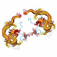 1Pair DIY Embroidered Chinese Dragon Applique Patches Sewing IronOn Frabic Craft