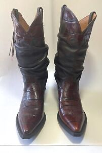 NEW ARIAT Cowboy Boots Women's 8.5 B Croc Print Brown Leather Slouch Style 13826