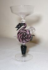 hand blown Dragon Venetian Murano art studio glass goblet chalice stemware cup .
