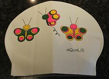 New in Bag AQUALIS Kids Junior WHITE 3 BUTTERFLIES Latex Swim Cap - Swimming